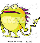 Vector of a Cartoon Green Monster with Spikes by Ron Leishman
