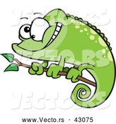 Vector of a Cartoon Green Spotted Chameleon Lizard Smiling on a Branch by Toonaday