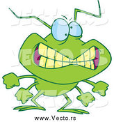 Vector of a Cartoon Grinning Bad Green Bug by Toonaday