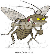 Vector of a Cartoon Grinning Evil Cockroach by Toonaday