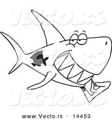 Vector of a Cartoon Grinning Shark Using a Toothpick - Coloring Page Outline by Toonaday