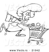Vector of a Cartoon Grocery Shopping Woman - Outlined Coloring Page by Toonaday