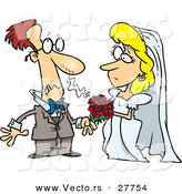 Vector of a Cartoon Groom Getting Allergic Reaction Beside His Bride's Red Bouquet of Flowers by Toonaday