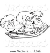 Vector of a Cartoon Group of Kids Playing with Toy Cars on a Track - Coloring Page Outline by Toonaday