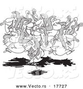 Vector of a Cartoon Group of Leaping Lords, One on a Pogo Stick - Coloring Page Outline by Toonaday