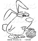 Vector of a Cartoon Grumpy Easter Bunny with a Basket - Coloring Page Outline by Toonaday