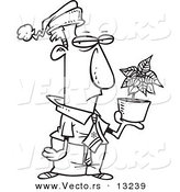 Vector of a Cartoon Grumpy Employee Holding a Poinsettia Christmas Bonus - Coloring Page Outline by Toonaday
