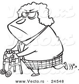 Vector of a Cartoon Grumpy Granny Using Her Walker - Outlined Coloring Page by Toonaday
