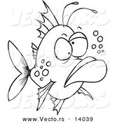 Vector of a Cartoon Grumpy Ugly Fish - Coloring Page Outline by Toonaday