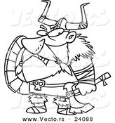 Vector of a Cartoon Grumpy Viking Holding an Axe and Shield - Coloring Page Outline by Toonaday