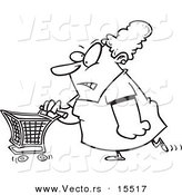 Vector of a Cartoon Grumpy Woman Grocery Shopping - Coloring Page Outline by Toonaday