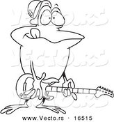 Vector of a Cartoon Guitarist Frog - Outlined Coloring Page Drawing by Toonaday