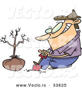 Vector of a Cartoon Guy Digging a Hole with a Shovel Beside a New Tree by Toonaday
