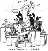 Vector of a Cartoon Guy Giving Himself Gifts - Coloring Page Outline by Toonaday