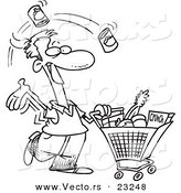 Vector of a Cartoon Guy Grocery Shopping - Coloring Page Outline by Toonaday
