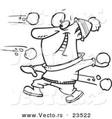Vector of a Cartoon Guy in a Snowball Fight - Coloring Page Outline by Ron Leishman