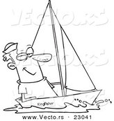 Vector of a Cartoon Guy Sailing - Coloring Page Outline by Toonaday