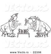 Vector of a Cartoon Guys Playing Chess - Coloring Page Outline by Toonaday