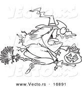 Vector of a Cartoon Halloween Witch Flying on Her Broom - Coloring Page Outline by Toonaday