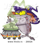 Vector of a Cartoon Halloween Witch Toad Mixing Stew Potion over Fire by Toonaday