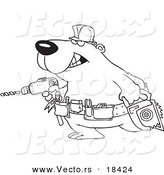 Vector of a Cartoon Handy Bear with Tools - Outlined Coloring Page by Toonaday