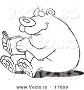Vector of a Cartoon Happy Bear Reading - Coloring Page Outline by Toonaday