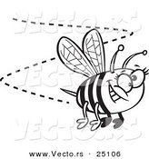 Vector of a Cartoon Happy Bee Buzzing Around - Coloring Page Outline by Ron Leishman