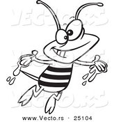 Vector of a Cartoon Happy Bee with Honey on His Hands - Coloring Page Outline by Ron Leishman