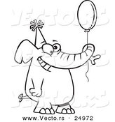 Vector of a Cartoon Happy Birthday Elephant Holding a Balloon - Outlined Coloring Page by Toonaday