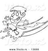 Vector of a Cartoon Happy Boy on a Water Slide - Coloring Page Outline by Toonaday