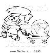 Vector of a Cartoon Happy Boy Pulling the Globe in a Wagon - Outlined Coloring Page Drawing by Toonaday