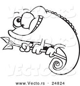 Vector of a Cartoon Happy Chameleon Lizard - Outlined Coloring Page by Toonaday