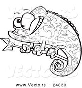 Vector of a Cartoon Happy Chameleon Lizard with Camoflauge Patterns - Outlined Coloring Page by Ron Leishman