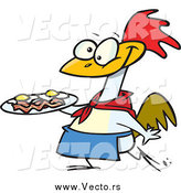Vector of a Cartoon Happy Chicken Carrying a Plate of Eggs and Bacon by Toonaday