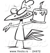 Vector of a Cartoon Happy Chicken Holding a Birthday Cake - Outlined Coloring Page by Toonaday