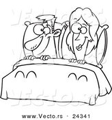 Vector of a Cartoon Happy Couple in Bed - Outlined Coloring Page by Toonaday