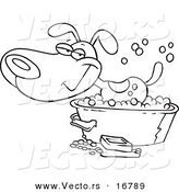 Vector of a Cartoon Happy Dog Bathing in a Tub - Coloring Page Outline by Toonaday