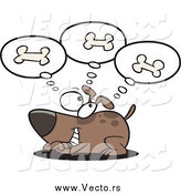 Vector of a Cartoon Happy Dog Day Dreaming of Bones by Ron Leishman