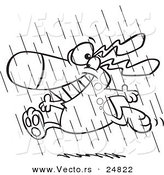 Vector of a Cartoon Happy Dog Running in the Rain During Spring Showers - Outlined Coloring Page by Toonaday