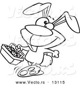Vector of a Cartoon Happy Easter Bunny Carrying a Basket of Eggs - Outlined Coloring Page by Toonaday