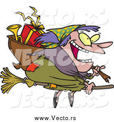December 26th, 2014: Vector of a Cartoon Happy Fat Befana Witch Flying with Gifts by Ron Leishman