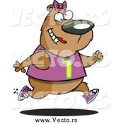 Vector of a Cartoon Happy Female Bear Jogging by Ron Leishman