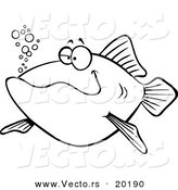 Vector of a Cartoon Happy Fish - Outlined Coloring Page by Toonaday