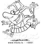 Vector of a Cartoon Happy Fool - Outlined Coloring Page Drawing by Toonaday