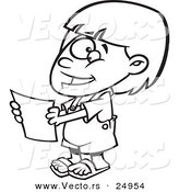 Vector of a Cartoon Happy Girl Holding a Report - Outlined Coloring Page by Toonaday