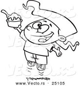 Vector of a Cartoon Happy Girl Jumping with an Ice Cream Sundae - Coloring Page Outline by Toonaday