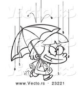 Vector of a Cartoon Happy Girl with an Umbrella in the Rain - Coloring Page Outline by Toonaday