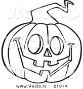 Vector of a Cartoon Happy Jackolantern - Outlined Coloring Page by Toonaday