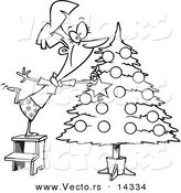 Vector of a Cartoon Happy Lady Decorating a Christmas Tree - Coloring Page Outline by Toonaday