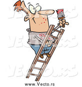 Vector of a Cartoon Happy Male Painter Climbing a Ladder by Toonaday